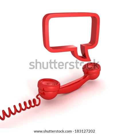 red telephone receiver and speech bubble on white background - stock photo