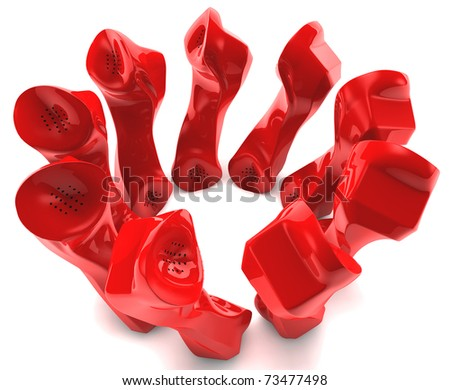 Red telephones talking to each other - stock photo
