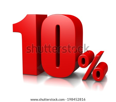 Red Ten Percent Number on White Background 3D Illustration - stock photo