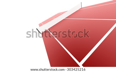 Red tennis court rendered isolated on white background
