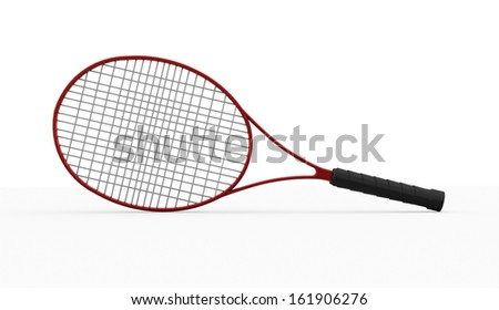 Red tennis racket isolated on white background - stock photo
