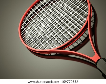 Red tennis racket rendered on dark background - stock photo
