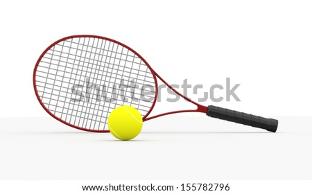 Red tennis racket with ball isolated on white background - stock photo