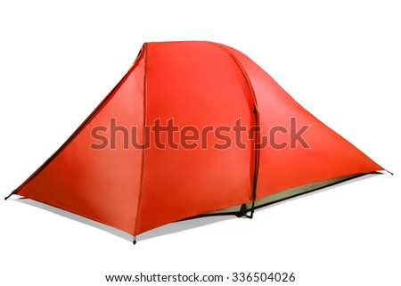 red tent isolated on white - stock photo