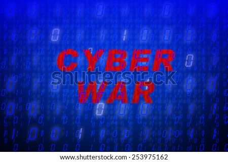 """Red text """"Cyber War"""" in front of blue binary code background, concept for data protection, internet security, computing, world wide web or cyber attacks - stock photo"""