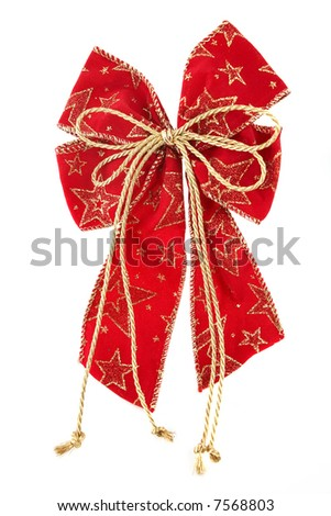 red textile christmas ribbon isolated on white - stock photo