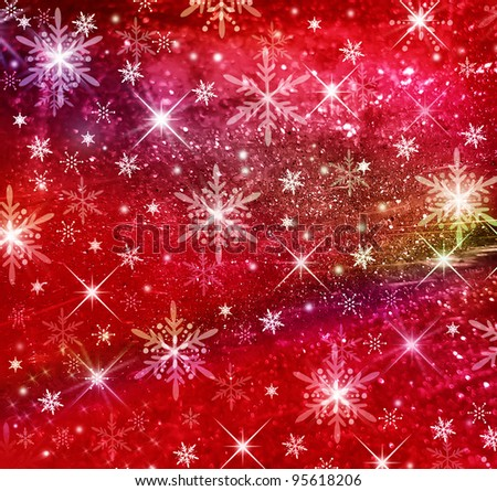 Red textured and blur Christmas background with white and yellow stars - stock photo