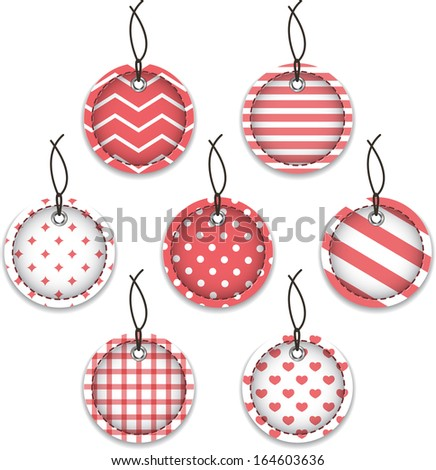 Red textured baubles. Christmas labels