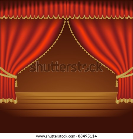 Red Theater Curtain - background illustration