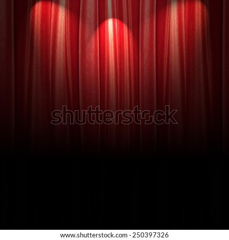 red theater curtain with soft lighting darkened bottom  - stock photo