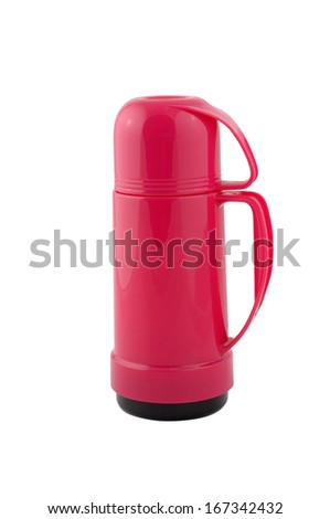 Red thermos on a white background - stock photo