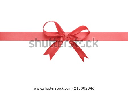 red thin ribbon with bow, isolated on white