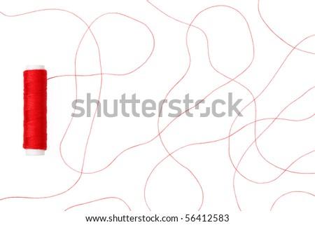 Red thread - stock photo