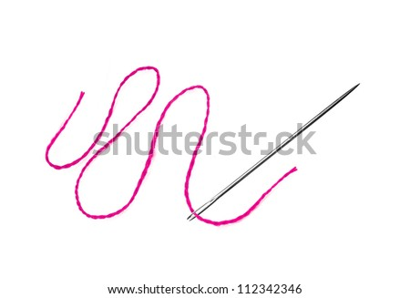 Red thread and needle isolated on white - stock photo