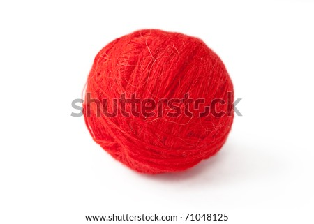 Red thread clew isolated over white background (macro shot) - stock photo