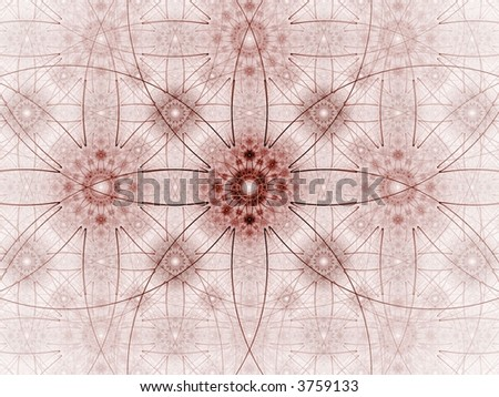 Red threads create intricate shapes (computer generated, fractal abstract background)