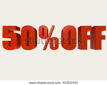 Red three dimensional 50% Off sale sign against a white background. - stock photo