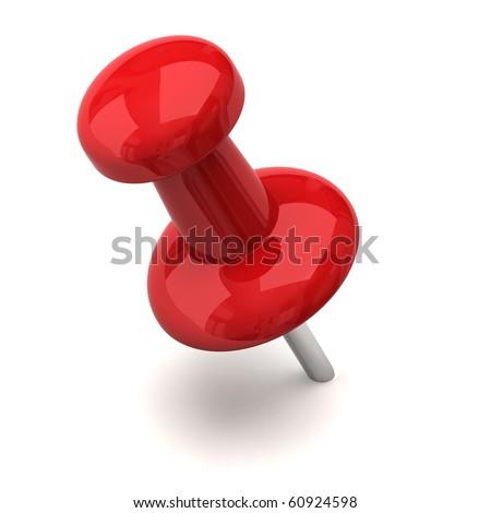 Red thumbtack - stock photo