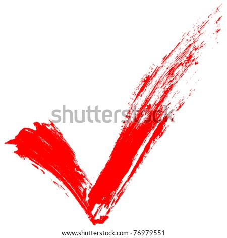 Red tick painted by splashes - stock photo