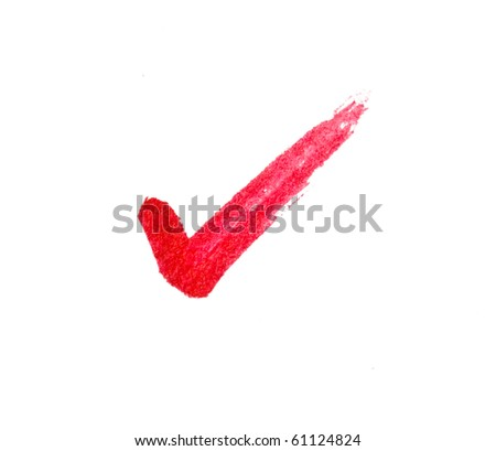 Red tick sign on white. - stock photo