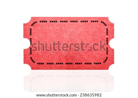Red ticket isolated on white background.  - stock photo