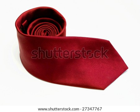 Red tie isolated on white background. - stock photo