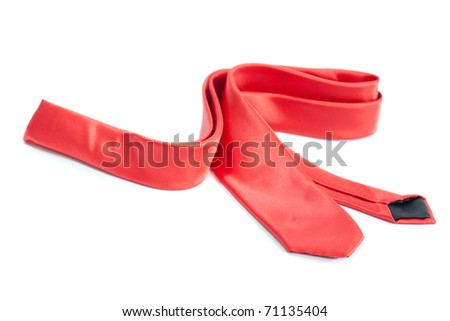 Red tie isolated over white background