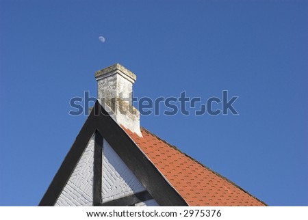 Red Tile Roof Sky Blue#2 - stock photo