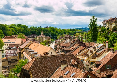Red tile roofs of old buildings in Bern, Switzerland.