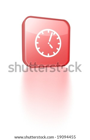 red time button with reflection