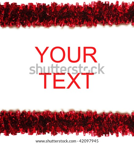 Red tinsel frame isolated on white background with place for text (easy to remove) - stock photo