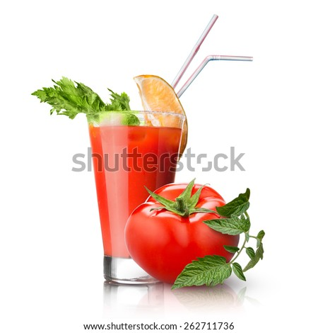 red tomato and glass of juice isolated on white - stock photo