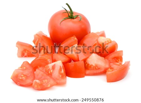 red tomato and slices on white background - stock photo