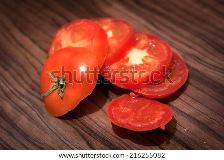 Red tomato, cut into pieces
