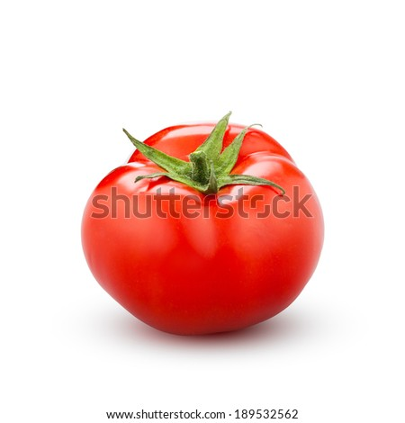 red tomato isolated on white - stock photo