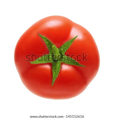 Red  tomato isolated on white background. - stock photo