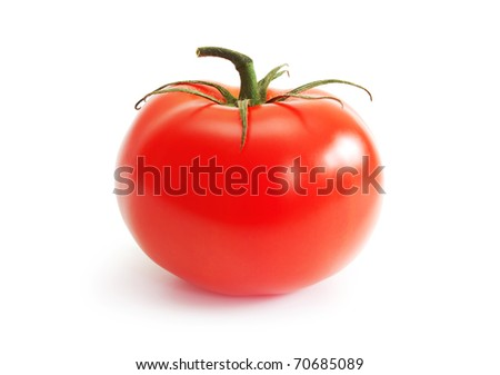 red tomato on the white background - stock photo