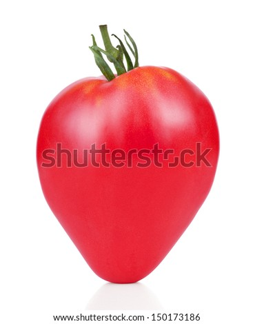 Red tomato on white background - stock photo