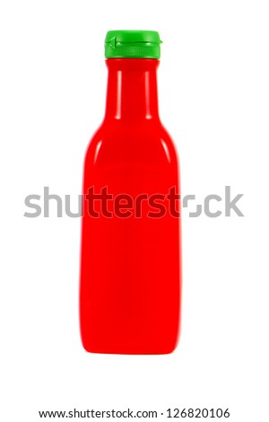 red tomato sauce plastic bottle isolated on white background