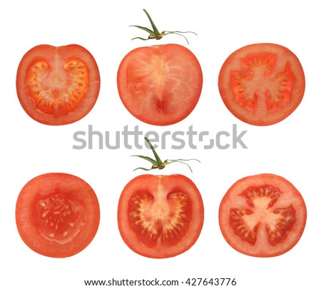 RED TOMATO SLICES COLLECTION ON WHITE BACKGROUND - stock photo