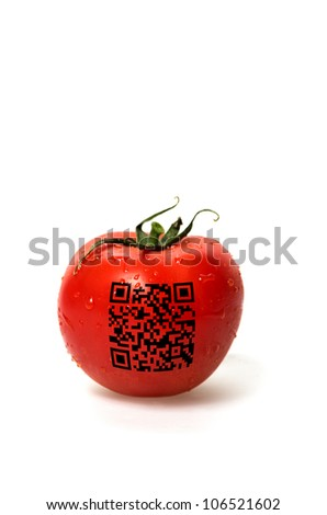 red tomato with qr code on a white background - stock photo