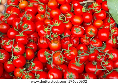 Red tomatoes at open air market