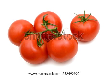 red tomatoes with green stem isolated on white - stock photo
