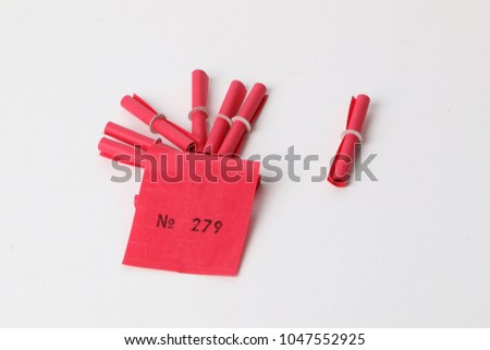 red tombola tickets winning number lying stock photo royalty free