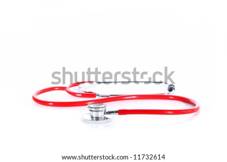 Red tool A red stethoscope over white background.
