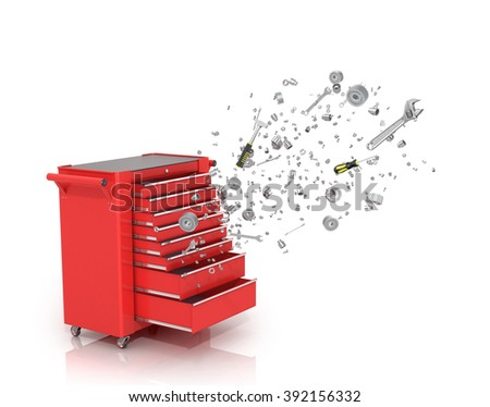 Red tool box from which emerge the tools and parts isolated white background. - stock photo