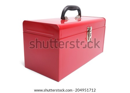Red toolbox on white background