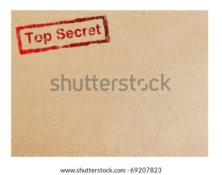 Red top secret stamp on cardboard background, space to insert text or design - stock photo