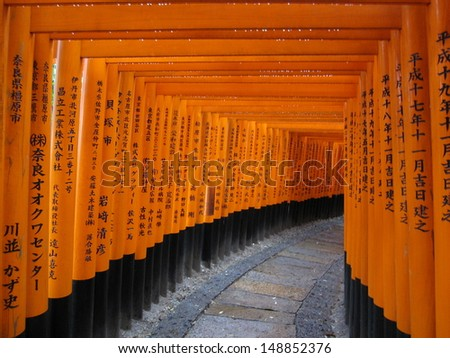 Red Tori Gate at Fushimi Inari Shrine in Kyoto, Japan  - stock photo