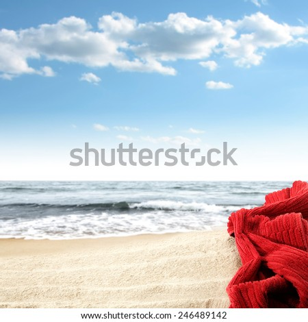 red towel space  - stock photo